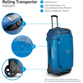Osprey Rolling Transporter 40 Duffel Bag kingfisher blue